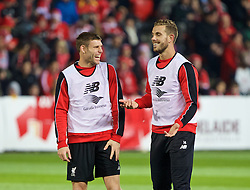 ADELAIDE, AUSTRALIA - Sunday, July 19, 2015: Liverpool's James Milner and captain Jordan Henderson during a training session at Coopers Stadium ahead of a preseason friendly match against Adelaide United on day seven of the club's preseason tour. (Pic by David Rawcliffe/Propaganda)