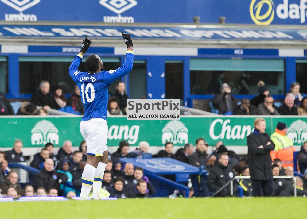 Romelu Lukaku of Everton looks to the heavens to celebrate his opening goal.Everton v Manchester City, Barclays English Premier League, 15th January 2017. (c) Paul Cram | SportPix
