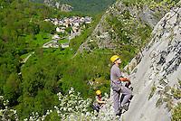 France. Ariege. Via ferrata du Vicdessos. Vincent Milhau. //  France. Ariege. Via Ferrata of Vicdessos.