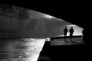 France. Paris. the Seine river. in the quartier latin . Parisbridges on the seine river, under notre dame, ile de la cite, saint Michel / La Seine dans le quartier latin