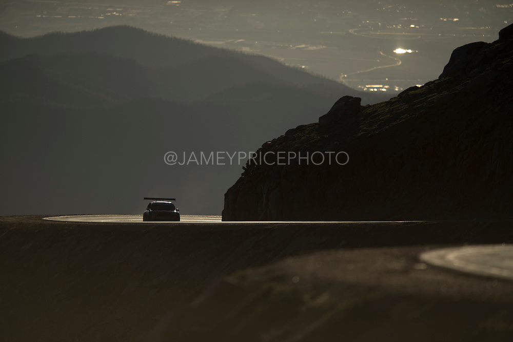 June 26-30 - Pikes Peak Colorado. Jean-Philippe Dayraut runs his car during practice for the 91st running of the Pikes Peak Hill Climb.