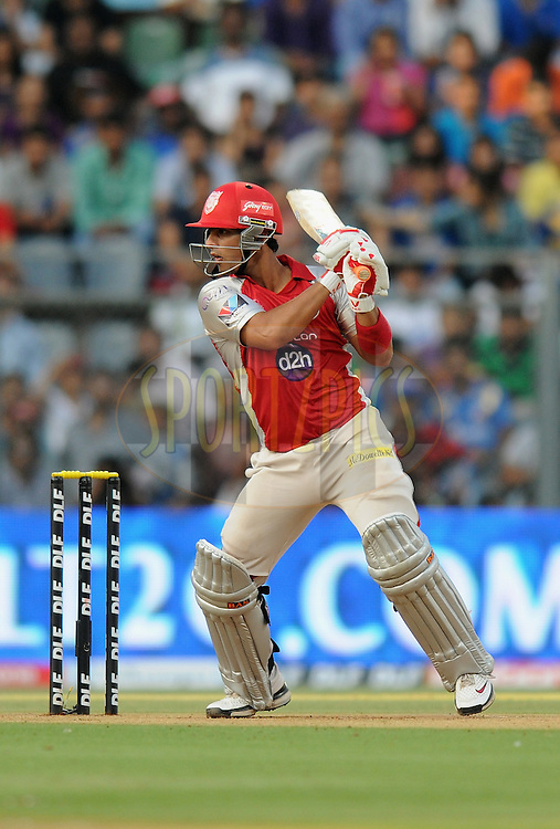 Mandeep Singh of Kings XI Punjab bats during match 28 of the Indian Premier League ( IPL) 2012  between The Mumbai Indians and the Kings X1 Punjab held at the Wankhede Stadium in Mumbai on the 22nd April 2012..Photo by Pal Pillai/IPL/SPORTZPICS.