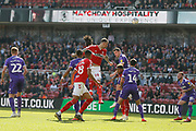 Header over from Middlesbrough defender Aden Flint (24)  during the EFL Sky Bet Championship match between Middlesbrough and Stoke City at the Riverside Stadium, Middlesbrough, England on 19 April 2019.