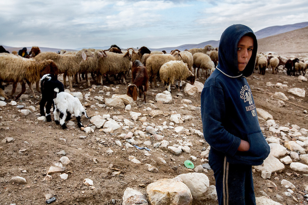 A young shepherd and his flock. Dec. 10, 2013. West Bank, Palestinian Territories. (Photo by Gabriel Romero/Alexia Foundation ©2014)
