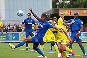 AFC Wimbledon striker Kweshi Appiah (9) trying to control the ball in the box during the EFL Sky Bet League 1 match between AFC Wimbledon and Wycombe Wanderers at the Cherry Red Records Stadium, Kingston, England on 31 August 2019.