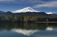 Mount Baker (elevation 10,778 feet (3,285 m), seen from Baker Lake, North Cascades Washington