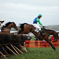 JT McNamara on Forever Man in the Corcomroe Perpetual Cup at the annual point to point meeting at Belhabour on Sunday.<br />