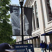 An image of Babe Ruth outside the Babe Ruth Plaza at Yankee Stadium before the New York Yankees V Detroit Tigers Baseball game at Yankee Stadium, The Bronx, New York. 28th April 2012. Photo Tim Clayton