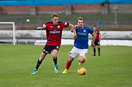 Dundee&rsquo;s Kevin Holt takes on Cowdebeath's Jamie Pyper - Cowdenbeath v Dundee in the Betfred Cup at Central Park, Cowdenbeath - Picture by David Young<br /> <br />  - &copy; David Young - www.davidyoungphoto.co.uk - email: davidyoungphoto@gmail.com