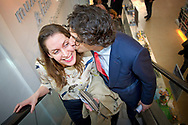 15-3-2017 - DEN HAAG - Jesse Klaver zoent zijn vrouw  groenlink samen met zijn vrouw Jolein Klaver  gaan stemmen bij boekhandel Paagman. Verkiezingen ,  COPYRIGHT ROBIN UTRECHT<br /> <br /> 15-3-2017 - THE HAGUE - Jesse Klaver groenlinks go along with his wife Jolein Clover voting Paagman bookstore. Elections, COPYRIGHT ROBIN UTRECHT
