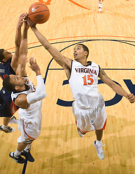 Virginia guard Sylven Landesberg (15) grabs a rebound in action against Liberty.  The Virginia Cavaliers fell to the Liberty Flames 86-82 in NCAA Division 1 men's basketball at the University of Virginia's John Paul Jones Arena  in Charlottesville, VA on March 9, 2008.