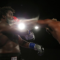 Jordan Sanders fights against Joseph White during a Fire Fist Boxing Promotions boxing match at the A La Carte Pavilion on Saturday, August 12 , 2017 in Tampa, Florida.  (Alex Menendez via AP)
