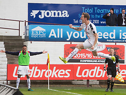Falkirk's Aaron Muirhead cele scoring their first goal. Dunfermline 1 v 2 Falkirk, Scottish Championship game played 22/4/2017 at Dunfermline's home ground, East End Park.