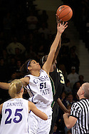 Kansas State's Marlies Gipson (51) goes up for the opening tip off with Baylor's Sophia Young (33) at Bramlage Coliseum in Manhattan, Kansas, February 25, 2006..The 10 ranked Lady Bears defeated K-State 79-70.