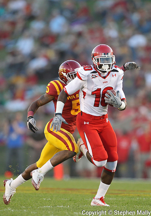 October 9 2010: Utah Utes wide receiver DeVonte Christopher (10) tries to out run Iowa State Cyclones cornerback Jeremy Reeves (5) during the first half of the NCAA football game between the Utah Utes and the Iowa State Cyclones at Jack Trice Stadium in Ames, Iowa on Saturday October 9, 2010. Utah defeated Iowa State 68-27.