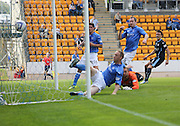Thomas Konrad (right) scores Dundee's winner -  St Johnstone v Dundee, SPFL Premiership at McDiarmid Park<br /> <br />  - &copy; David Young - www.davidyoungphoto.co.uk - email: davidyoungphoto@gmail.com