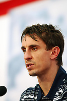 Photo: Chris Ratcliffe.<br />England Press Conference. FIFA World Cup 2006. 29/06/2006.<br />Gary Neville addresses the media.