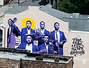 Mural on the streets of New Orleans, Louisiana depicting African American musicians