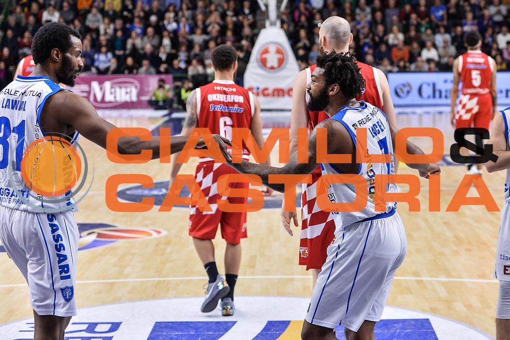Gani Lawal, Travor Lacey<br /> Banco di Sardegna Dinamo Sassari - The Flexx Pistoia Basket<br /> Legabasket Serie A LBA Poste Mobile 2016/2017<br /> Sassari 04/03/2017