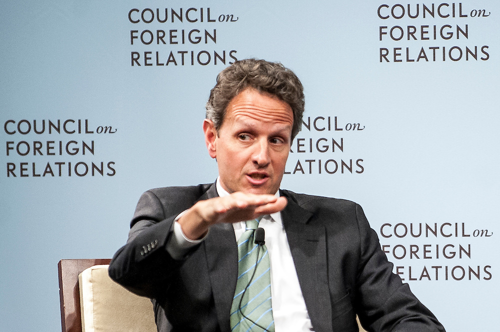 Treasury Secretary Timothy Geithner speaks to the Council on Foreign Relations in Washington, D.C, USA, 13 June 2012, about the state of the global economy ahead of next week's G20 summit in Cabo San Lucas, Mexico.