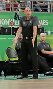 14th April 2018, Gold Coast Convention and Exhibition Centre, Gold Coast, Australia; Commonwealth Games day 10, Basketball, Mens semi final, New Zealand versus Canada; Paul Henare coach of New Zealand pleads with the umpire during the game