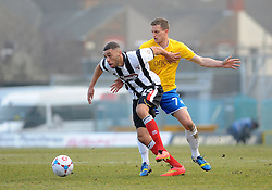 Grimsby's Christian Jolley is challenged by Bristol Rovers' Lee Mansell - Photo mandatory by-line: Neil Brookman/JMP - Mobile: 07966 386802 - 14/02/2015 - SPORT - Football - Cleethorpes - Blundell Park - Grimsby Town v Bristol Rovers - Vanarama Football Conference