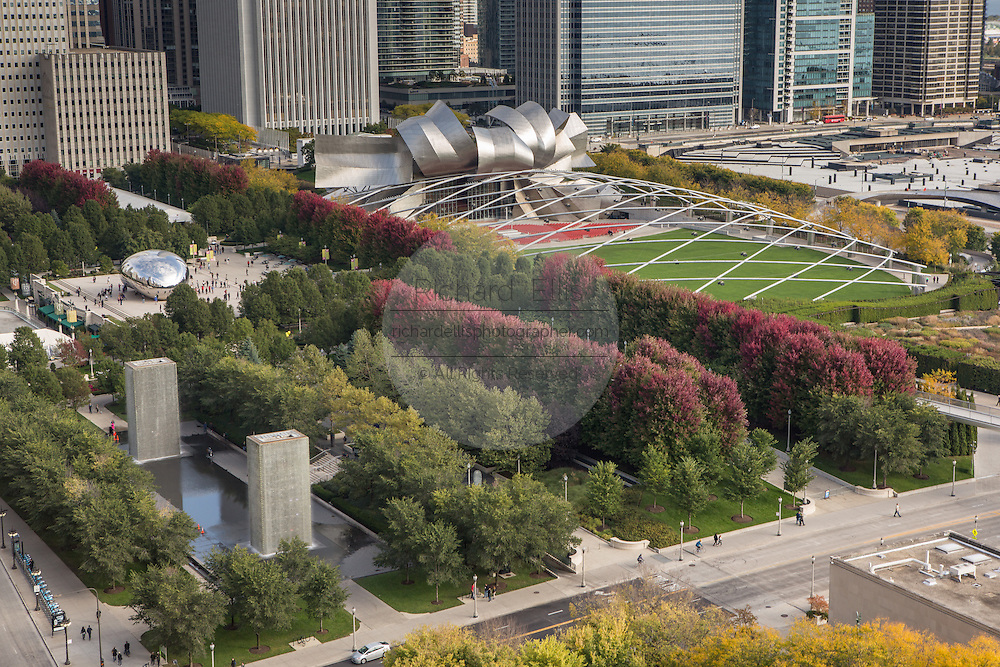 Aerial view of the from the Cliff Dwellers Club of Millennium Park in Chicago USA