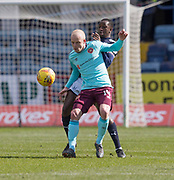 1st April 2018, Dens Park, Dundee, Scotland; Scottish Premier League football, Dundee versus Heart of Midlothian; Steven Naismith of Hearts battles for the ball with Glen Kamara of Dundee