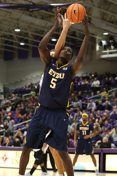 January 18, 2018 - Greenville, South Carolina - Timmons Arena: ETSU center Peter Jurkin (5)<br />