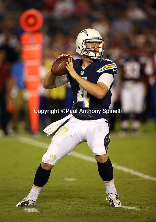 San Diego Chargers quarterback Brad Sorensen (4) throws a pass during the NFL week 4 preseason football game against the San Francisco 49ers on Thursday, Aug. 29, 2013 in San Diego. The 49ers won the game 41-6. ©Paul Anthony Spinelli