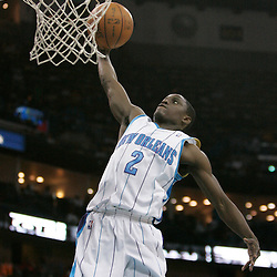 Apr 07, 2010; New Orleans, LA, USA; New Orleans Hornets guard Darren Collison (2) dunks against the Charlotte Bobcats during the second half at the New Orleans Arena. The Bobcats defeated the Hornets 104-103. Mandatory Credit: Derick E. Hingle-US PRESSWIRE