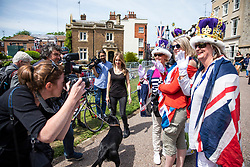 © Licensed to London News Pictures. 18/05/2018. London, UK. Royal fans gather on the Long Walk by Windsor Castle on the eve of the Royal Wedding. Prince Harry and Meghan Markle are to be married in Windsor tomorrow, Saturday 19 May 2018. Photo credit: Rob Pinney/LNP