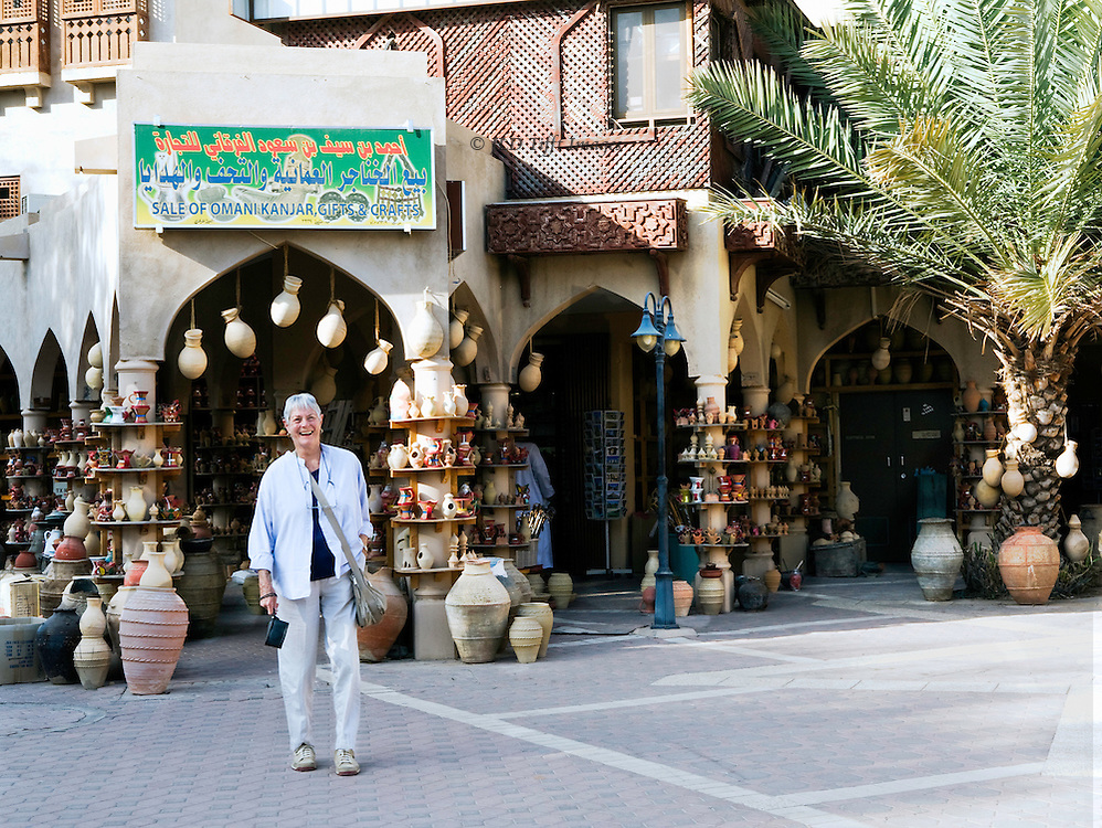The souk at Nizwa with displays of traditional Omani pottery shapes.  Harriet Weller, Archaeological Tours participant.