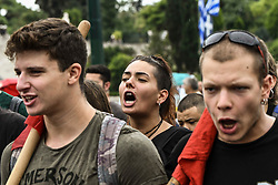 People shout slogans on a demonstrate against a draft labour legislation in central Athens on September 24, 2019 during a 24-hours nationwide strike. in Athens, Greece, on 24 September 2019 <br /> <br /> <br /> <br /> Dimitris Lampropoulos  | EEm date