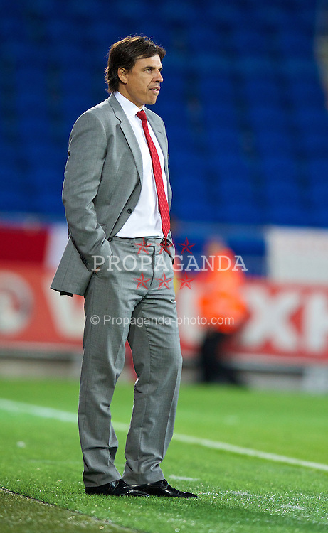 CARDIFF, WALES - Tuesday, September 10, 2013: Wales' manager Chris Coleman during the 2014 FIFA World Cup Brazil Qualifying Group A match against Serbia at the Cardiff CIty Stadium. (Pic by David Rawcliffe/Propaganda)
