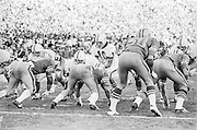 1974 Stanford v Cal Big Game at Cal, Stanford quarterback Guy Benjamin #10 takes the snap from center Rudy Bergthold.