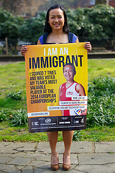 © Licensed to London News Pictures. 08/04/2015. LONDON, UK. Lois Lau from Malaysia and England Touch Rugby player taking part at 'I am an Immigrant' poster campaign launch in London on Wednesday, 8 April 2015. The posters feature images of 15 immigrants and will appear in 400 London tube stations and 550 national rail stations across the country. Photo credit : Tolga Akmen/LNP