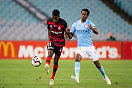 SYDNEY, AUSTRALIA - MARCH 30: Western Sydney Wanderers forward Bruce Kamau (11) and Melbourne City forward Shayon Harrison (9) fight for the ball at round 23 of the Hyundai A-League Soccer between Western Sydney Wanderers FC and Melbourne City FC on March 30, 2019 at ANZ Stadium in Sydney, Australia. (Photo by Speed Media/Icon Sportswire)