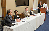 Chris Butler, cancer survivor and graduate of the LIVESTRONG at the YMCA program, at left speaks during the LIVESTRONG Foundation congressional briefing on helping cancer survivors reclaim health and wellness after treatment through exercise programs like LIVESTRONG at the YMCA at Rayburn House Office Building in Washington, DC, on Thursday, September 15, 2016. Other panelist are Joan O'Donnell, LIVESTRONG at the YMCA program trainer, Matt Longjohn, MD, National Health Officer for the YMCA, Jennifer Ligibel, MD, medical oncologist and researcher, and Cameron Krier Massey, Director of Government Affairs for LIVESTRONG Foundation, at right. (Alan Lessig/)