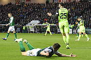 Oliver Burke protests innocence after fouling Lewis Stevenson during the William Hill Scottish Cup quarter final match between Hibernian and Celtic at Easter Road, Edinburgh, Scotland on 2 March 2019.