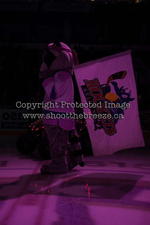 KELOWNA, CANADA - OCTOBER 21: The Kelowna Rockets' mascot Rocky Racoon stands on the ice against the Portland Winterhawks on October 21, 2017 at Prospera Place in Kelowna, British Columbia, Canada.  (Photo by Marissa Baecker/Shoot the Breeze)  *** Local Caption ***