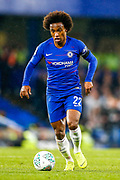 Chelsea midfielder Willian (22) on the ball during the EFL Cup 4th round match between Chelsea and Derby County at Stamford Bridge, London, England on 31 October 2018.