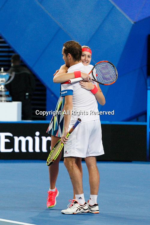 07.01.2017. Perth Arena, Perth, Australia. Mastercard Hopman Cup International Tennis tournament. Richard Gasquet (FRA) and Kristina Mladenovic (FRA) win the live Mixed Doubles Final against Sock/Vandeweghe (USA) 4-1, 4-3.