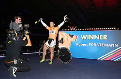 Germany's Robert Forstemann celebrates victory in the Keirin Final during day six of the Six Day Series at Lee Valley Velopark, London