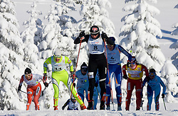 Justyna Kowalczyk (POL) and behind her on left Petra Majdic (SLO) at Ladies 15 km Classic Mass Start Competition of Viessmann Cross Country FIS World Cup Rogla 2009, on December 20, 2009, in Rogla, Slovenia. (Photo by Vid Ponikvar / Sportida)