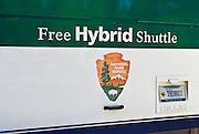 Hybrid shuttle bus, Yosemite National Park, California USA