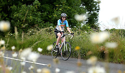 Cyclists climb Bannerdown Hill during the 111 mile cycling challenge organised by the Community Foundations of Bristol and Gloucester Rugby - Mandatory by-line: Robbie Stephenson/JMP - 03/07/2016 - CYCLING - Bannerdown - Bath, United Kingdom - Break The Cycle Challenge 2016