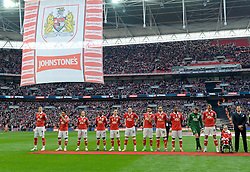 Bristol City players line up on the Wembley Pitch  - Photo mandatory by-line: Joe Meredith/JMP - Mobile: 07966 386802 - 22/03/2015 - SPORT - Football - London - Wembley Stadium - Bristol City v Walsall - Johnstone Paint Trophy Final