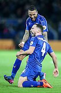 Daniel Drinkwater of Leicester City (right) celebrates scoring during the Premier League match at the King Power Stadium, Leicester<br /> Picture by Andy Kearns/Focus Images Ltd 0781 864 4264<br /> 27/02/2017