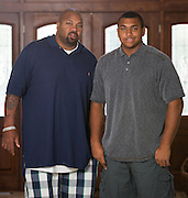 ***Photo Requested by Clarence E. Hill, Jr.***<br /> <br /> Former Dallas Cowboys guard Larry Allen, Jr. poses for a portrait with his son Larry Allen III at their home in Danville, California, on June 27, 2013.  Allen will be inducted into the NFL Hall of Fame during the Enshrinement Ceremony at Fawcett Stadium in Canton, Ohio, on August 2, 2013. (Stan Olszewski for Fort Worth Star-Telegram)